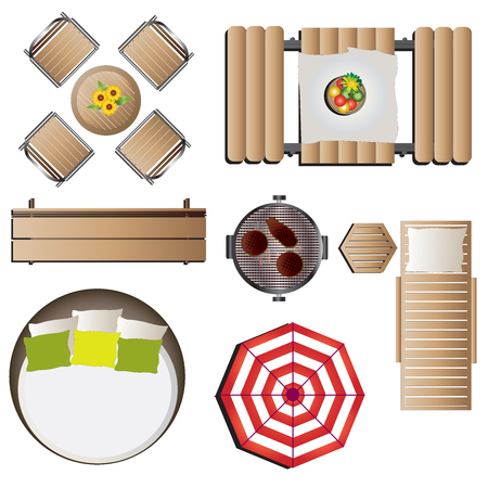 table top: Outdoor furniture top view set 12 for landscape design , vector illustration