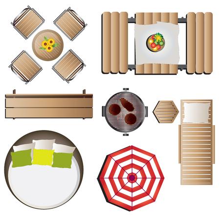 Outdoor furniture top view set 12 for landscape design , vector illustration