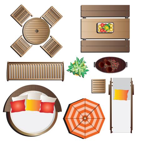 Outdoor furniture top view set 13 for landscape design , vector illustration  イラスト・ベクター素材