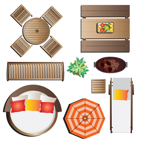 view from the above: Outdoor furniture top view set 13 for landscape design , vector illustration Illustration