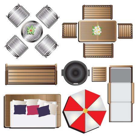 Açık alan mobilyaları top view peyzaj tasarımı için 14 set, vektör çizim