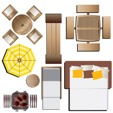 Lovely Outdoor Furniture Top View: Outdoor Furniture Top View Set 15 For Landscape  Design , Vector