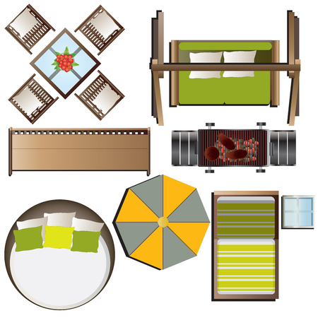 top round: Outdoor furniture top view set 16 for landscape design , vector illustration