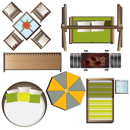 Outdoor furniture top view set 16 for landscape design , vector illustration