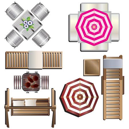 columpios: Vista superior de muebles al aire libre del 18 para el diseño del paisaje, ilustración vectorial