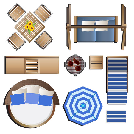 round chairs: Outdoor furniture top view set 19 for landscape design , vector illustration