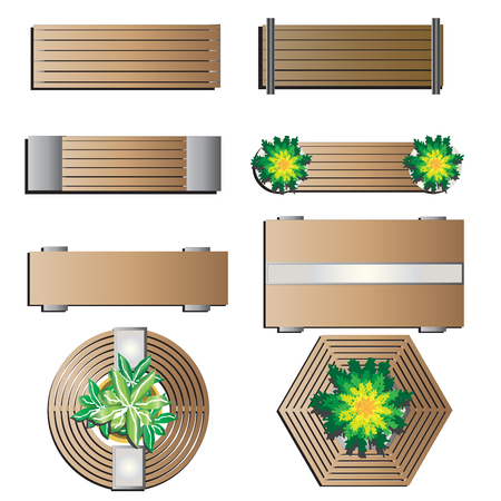 Outdoor furniture, Bench top view for landscape design set 5 , vector illustration  イラスト・ベクター素材