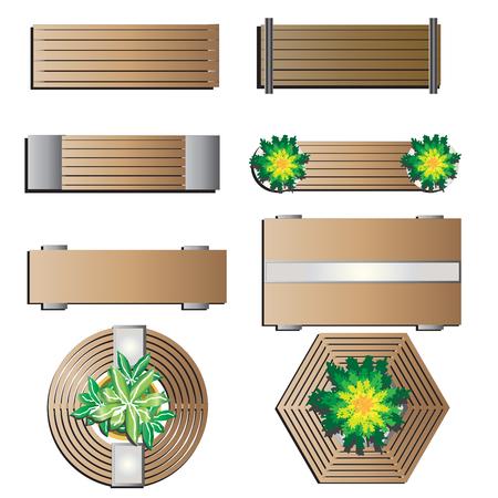 top round: Outdoor furniture, Bench top view for landscape design set 5 , vector illustration Illustration