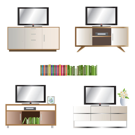 elevation: Tv cabinet elevation set for interior,vector illustration Illustration