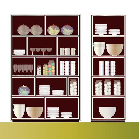 elevation: Kitchen shelf elevation for interior, vector illustration Illustration