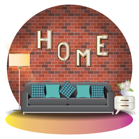 Living room elevation set with brick background for interior,vector illustration