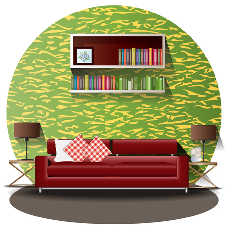 Living room elevation set with background for interior,vector illustration