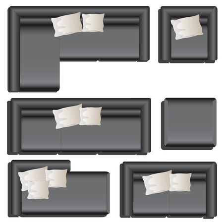 Furniture top view set 33 for interior ,vector illustration, black sofa