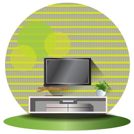 elevation: Tv cabinet elevation set with green background for interior,vector illustration Illustration