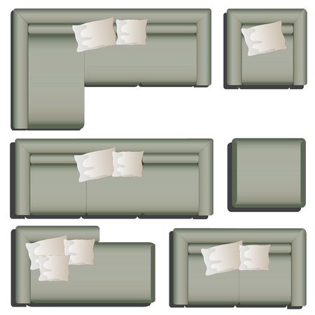 Furniture top view set 38 for interior ,vector illustration, black sofa