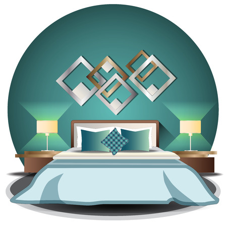 Bedroom elevation set with background for interior,vector illustration
