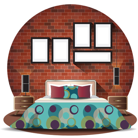 elevation: Bedroom elevation set with brick background for interior,vector illustration