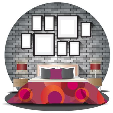 bed room: Bed room elevation set with brick background for interior,vector illustration