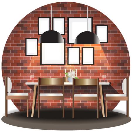 dining set: Dining room elevation set with brick background for interior,vector illustration