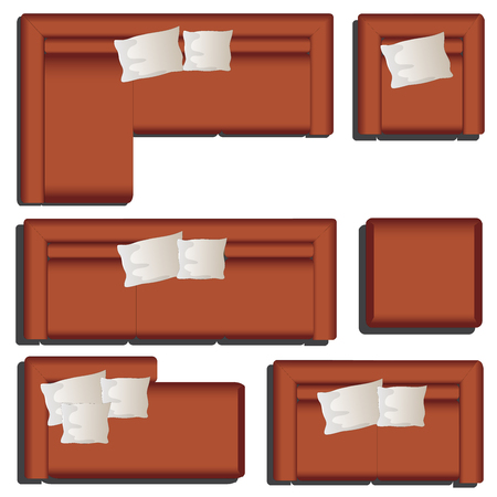 Furniture top view set 39 for interior ,vector illustration