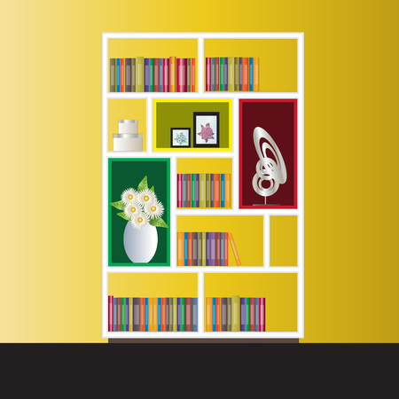 elevation: Bookshelf elevation for interior, vector illustration