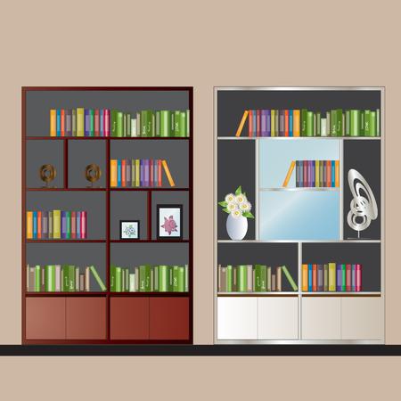 elevation: Bookshelf elevation for interior , vector illustration