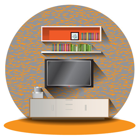 Tv cabinet elevation set with background for interior,vector illustration