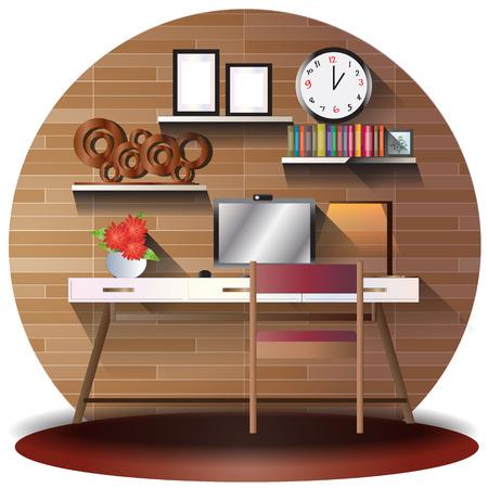 elevation: working room elevation set with background for interior,vector illustration Illustration