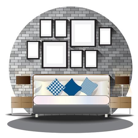 elevation: Bed room elevation set with brick background for interior,vector illustration