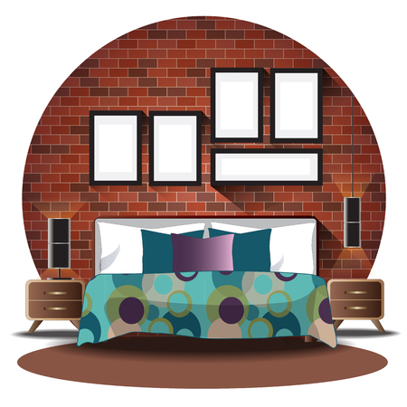 Bedroom elevation set with brick background for interior,vector illustration