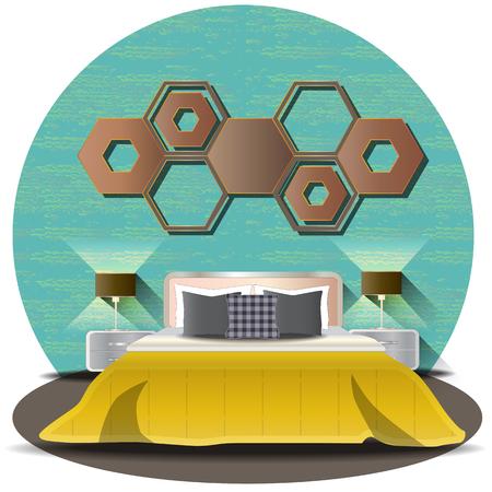 elevation: Bedroom elevation set with background for interior,vector illustration