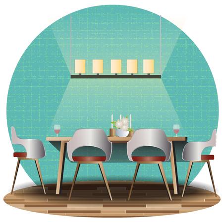 dining set: Dining room elevation set with background for interior,vector illustration