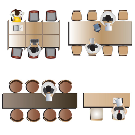 sitting at table: Furniture top view set 46 for interior ,vector illustration Illustration
