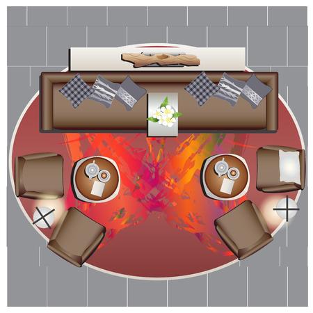 Furniture top view set 49 for interior ,vector illustration Ilustrace