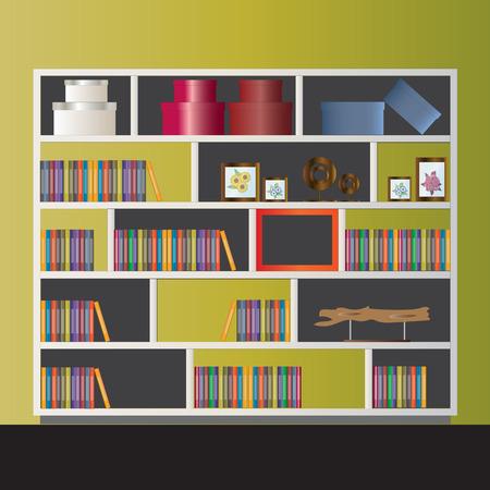 elevation: Bookshelf elevation for interior,vector illustration Illustration