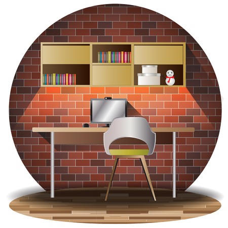 working room elevation set with brick background for interior,vector illustration