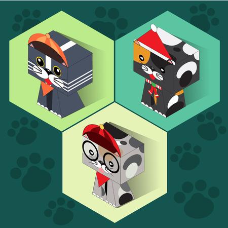 Set of isometric cats Ilustrace