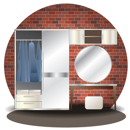 Dressing room elevation set with background for interior,vector illustration