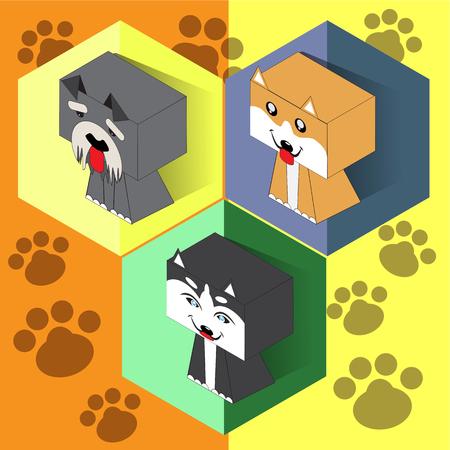 Set of isometric dogs Ilustrace
