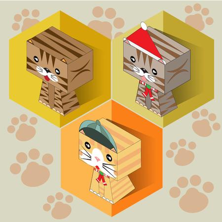 Set of isometric cat