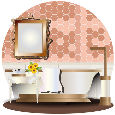 Bathroom elevation set with background for interior,vector illustration