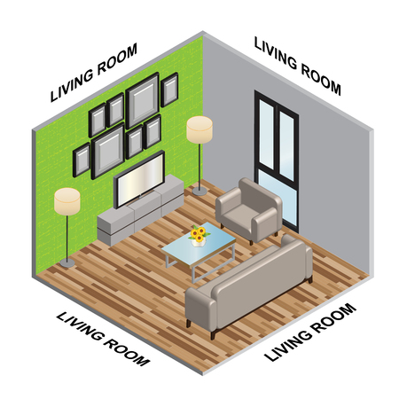 Interior Isometric of Living room
