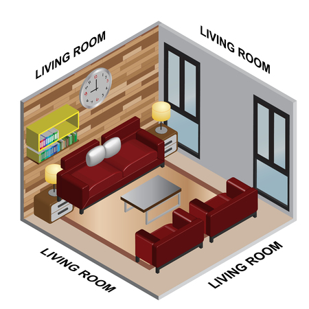interior Isometric of Living room Ilustrace