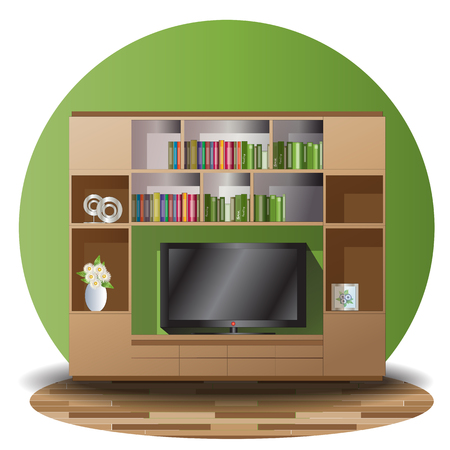 Tv cabinet elevation set with green back ground for interior Çizim