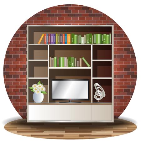 Tv cabinet elevation set with green back ground for interior Ilustração