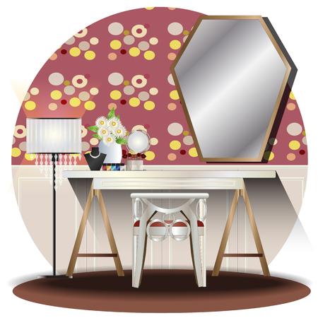 Dressing room elevation set with background for interior,vector illustration Reklamní fotografie - 106952608