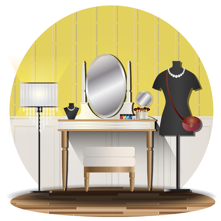 Dressing room elevation set with background for interior,vector illustration