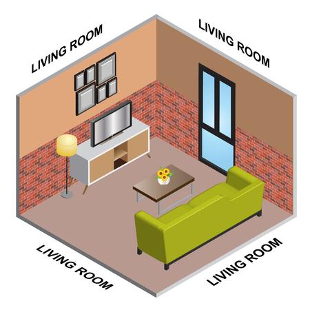 interior Isometric of Living room  イラスト・ベクター素材