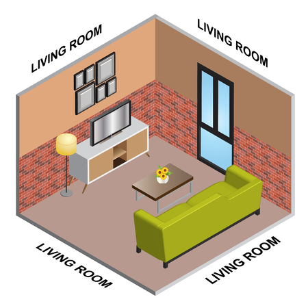 interior Isometric of Living room Çizim