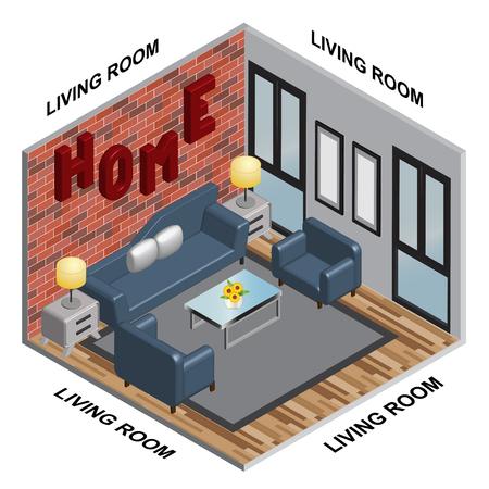 interior Isometric of Living room Imagens - 106952611